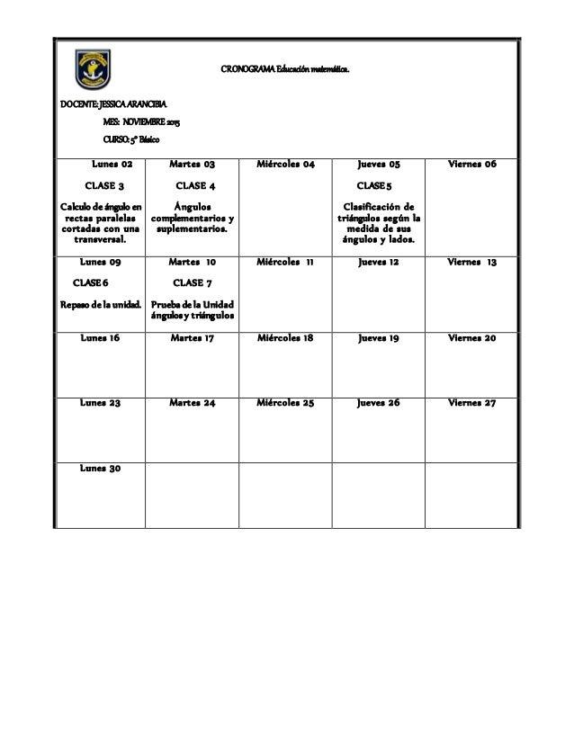CRONOGRAMA Educación matemática. DOCENTE: JESSICA ARANCIBIA MES: NOVIEMBRE 2015 CURSO: 5° Básico Lunes 02 CLASE 3 Calculo ...