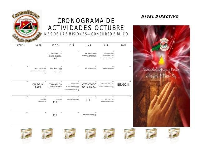CRONOGRAMA DE ACTIVIDADES OCTUBRE MES DE LAS MISIONES—CONCURSO BIBLICO NIVEL DIRECTIVO ABRIL 2013 DOM LUN MAR MIÉ JUE VIE ...
