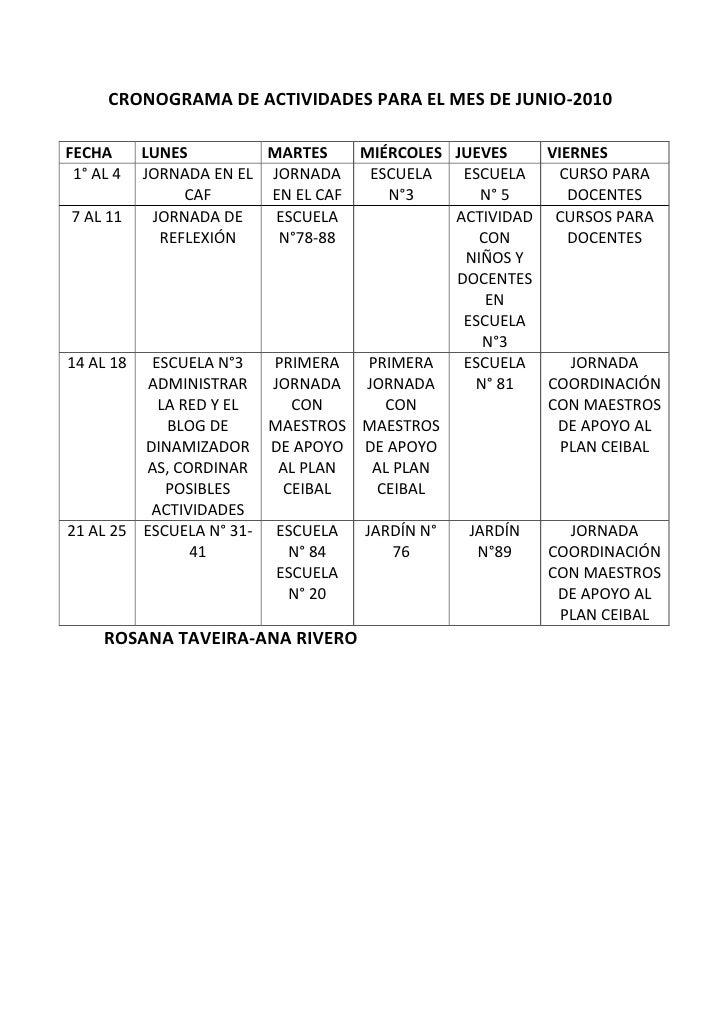 FECHALUNESMARTESMIÉRCOLESJUEVESVIERNES1° AL 4JORNADA EN EL CAFJORNADA EN EL CAFESCUELA N°3ESCUELA N° 5CURSO PARA DOCENTES7...