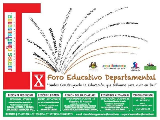 Cronograma Pre foros y Foro Educativo Departamento META 2.012