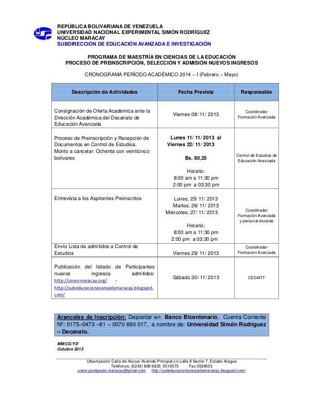 REPÚBLICA BOLIVARIANA DE VENEZUELA UNIVERSIDAD NACIONAL EXPERIMENTAL SIMÓN RODRÍGUEZ NÚCLEO MARACAY SUBDIRECCIÓN DE EDUCAC...