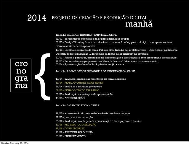 2014  cro no gra ma  {  PROJETO DE CRIAÇÃO E PRODUÇÃO DIGITAL  manhã  Trabalho 1: DESIGN THINKING - EMPRESA DIGITAL 27/02 ...