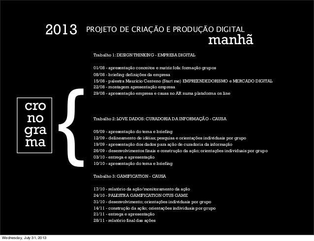 PROJETO DE CRIAÇÃO E PRODUÇÃO DIGITAL manhã 2013 cro no gra ma { Trabalho 1: DESIGN THINKING - EMPRESA DIGITAL 01/08 - apr...