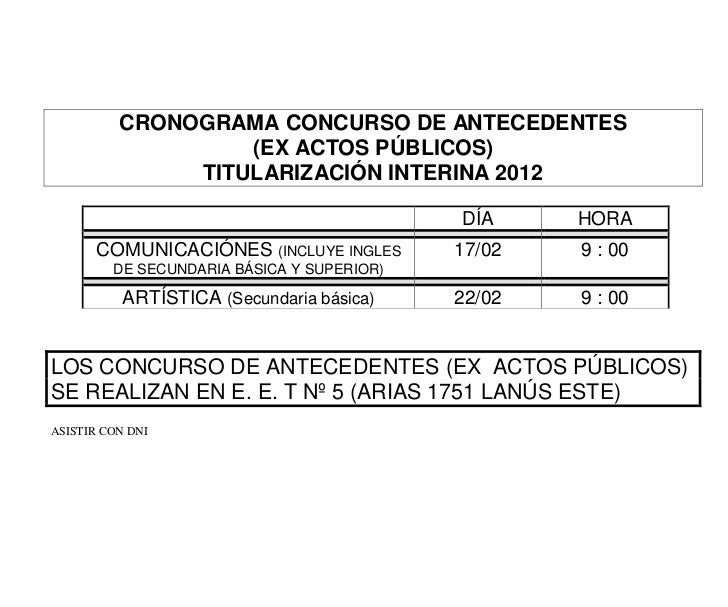 CRONOGRAMA CONCURSO DE ANTECEDENTES                   (EX ACTOS PÚBLICOS)               TITULARIZACIÓN INTERINA 2012      ...