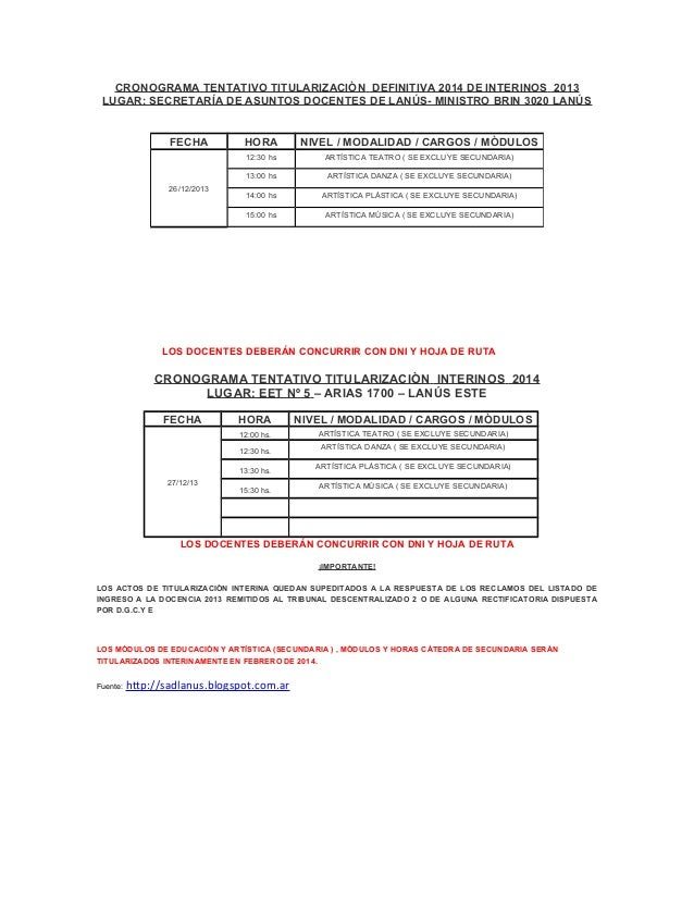 CRONOGRAMA TENTATIVO TITULARIZACIÒN DEFINITIVA 2014 DE INTERINOS 2013 LUGAR: SECRETARÍA DE ASUNTOS DOCENTES DE LANÚS- MINI...