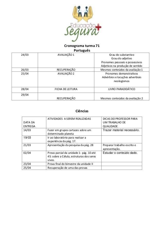 Cronograma turma 71 Português 24/03 AVALIAÇÃO 1 Grau do substantivo Grau do adjetivo Pronomes pessoais e possessivos Adjet...