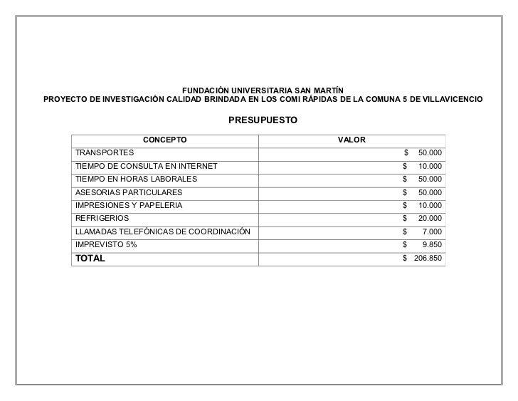 FUNDACIÓN UNIVERSITARIA SAN MARTÍNPROYECTO DE INVESTIGACIÓN CALIDAD BRINDADA EN LOS COMI RÁPIDAS DE LA COMUNA 5 DE VILLAVI...