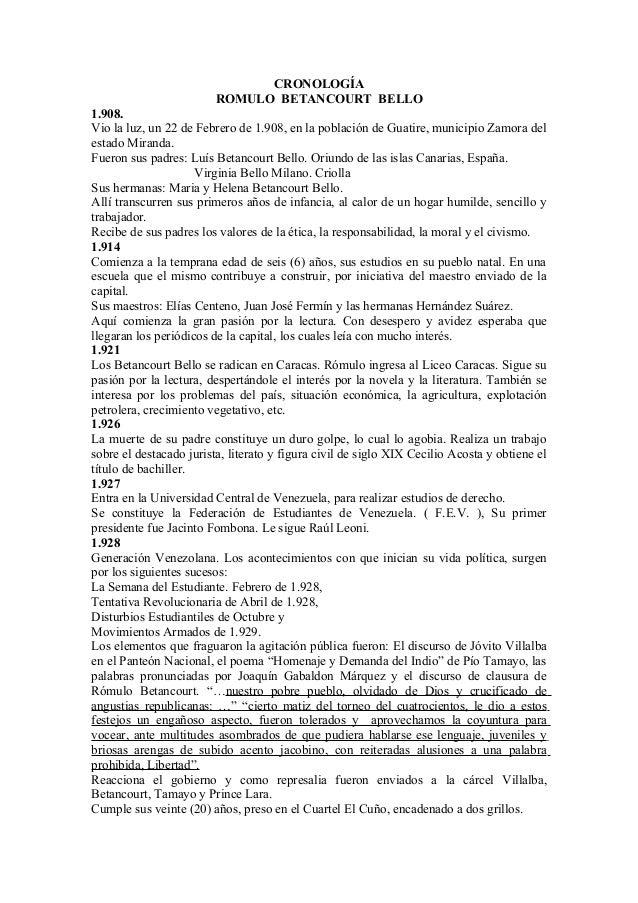 CRONOLOGÍA                         ROMULO BETANCOURT BELLO1.908.Vio la luz, un 22 de Febrero de 1.908, en la población de ...