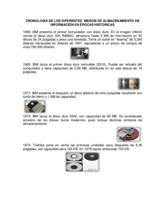 CRONOLOGÍA DE LOS DIFERENTES MEDIOS DE ALMACENAMIENTO DE             INFORMACIÓN EN ÉPOCAS HISTORICAS1956: IBM presenta el...