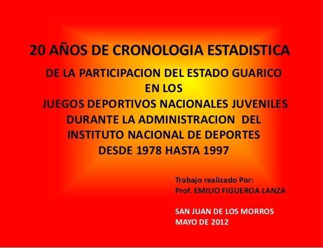 20 AÑOS DE CRONOLOGIA ESTADISTICA DE LA PARTICIPACION DEL ESTADO GUARICO EN LOS JUEGOS DEPORTIVOS NACIONALES JUVENILES DUR...