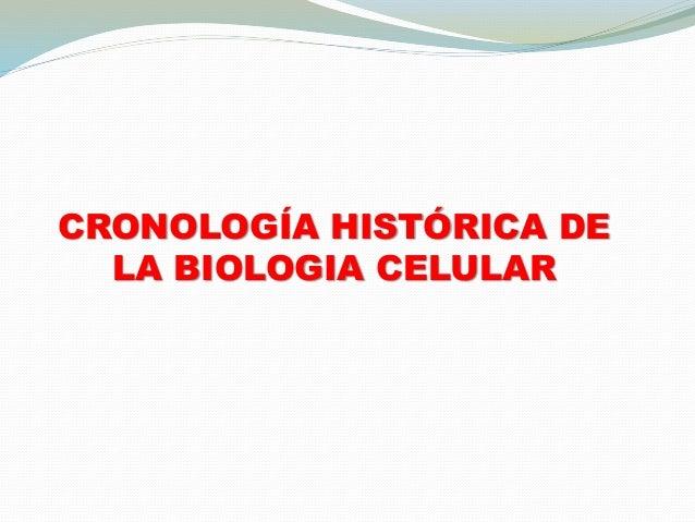 CRONOLOGÍA HISTÓRICA DE  LA BIOLOGIA CELULAR