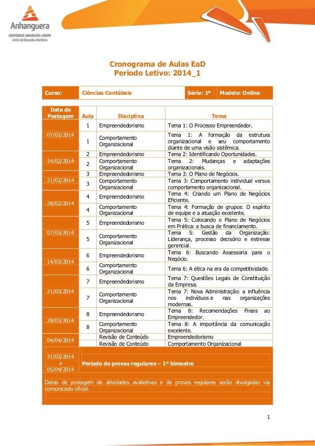 1 Cronograma de Aulas EaD Período Letivo: 2014_1 Curso: Ciências Contábeis Série: 1ª Modelo: Online Data de Postagem Aula ...