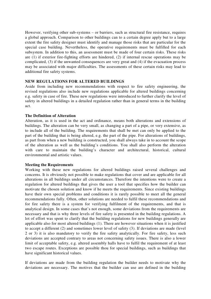fire and safety engineering building regulations essay Designers involved in fire engineering should be aware that it fire safety in timber buildings fire resistance and reaction to fire in the building regulations.