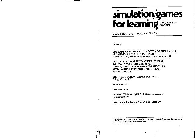 Crookall et al. 1987. Reconceptualization: simulation, game, role-play, model, reality, representation