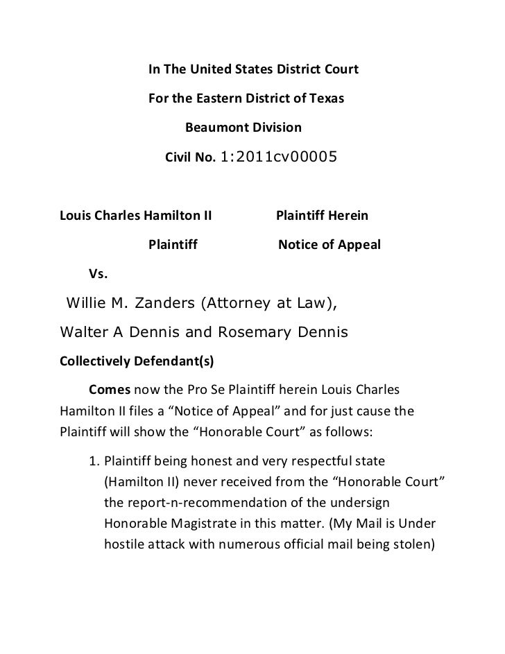 In The United States District Court<br />For the Eastern District of Texas<br />  Beaumont Division<br />     Civil No. 1:...