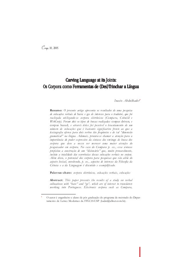 Crop, 10, 2005                 Carving Language at its Joints:                                   (Des)Trinchar    Os Corpo...