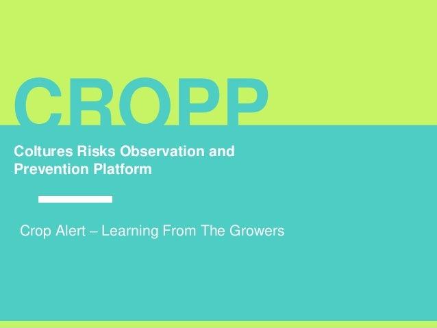 CROPPColtures Risks Observation and Prevention Platform Crop Alert – Learning From The Growers