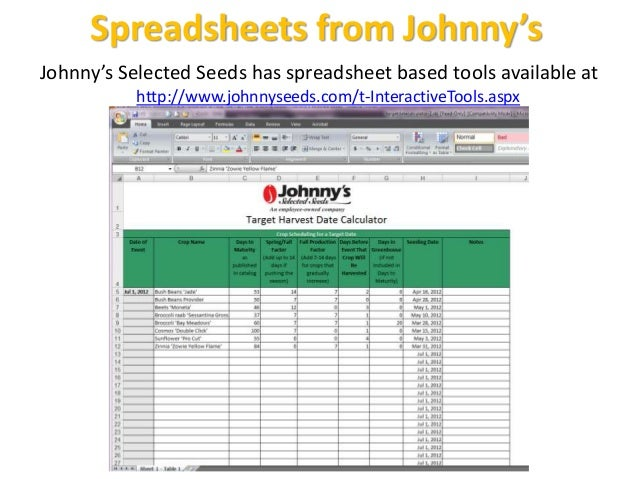 Spreadsheets from Johnny's Johnny's Selected Seeds has spreadsheet based tools available at http://www.johnnyseeds.com/t-I...