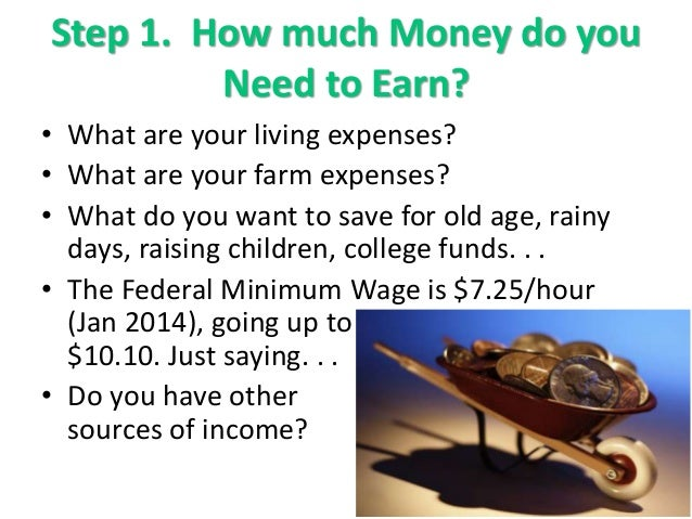 Step 1. How much Money do you Need to Earn? • What are your living expenses? • What are your farm expenses? • What do you ...