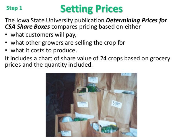 Setting Prices The Iowa State University publication Determining Prices for CSA Share Boxes compares pricing based on eith...