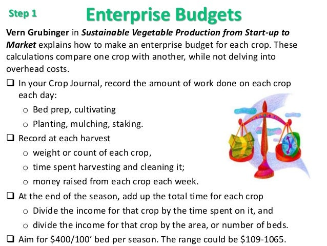 Enterprise Budgets Vern Grubinger in Sustainable Vegetable Production from Start-up to Market explains how to make an ente...