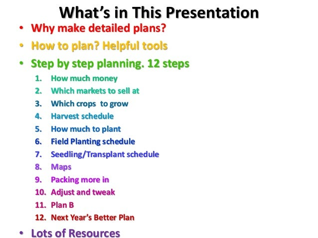 What's in This Presentation • Why make detailed plans? • How to plan? Helpful tools • Step by step planning. 12 steps 1. H...