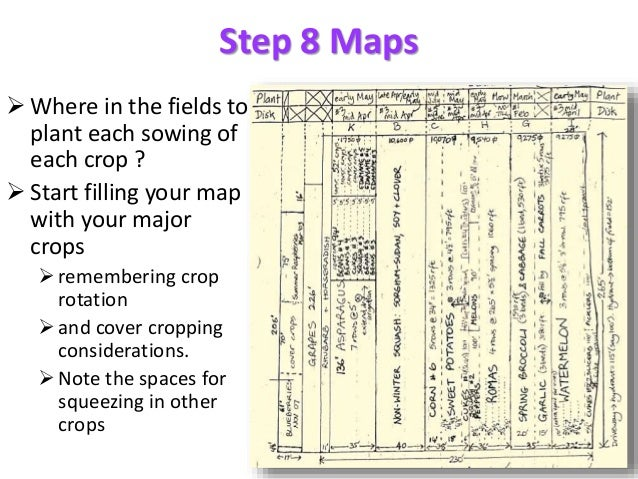 Step 8 Maps  Where in the fields to plant each sowing of each crop ?  Start filling your map with your major crops reme...