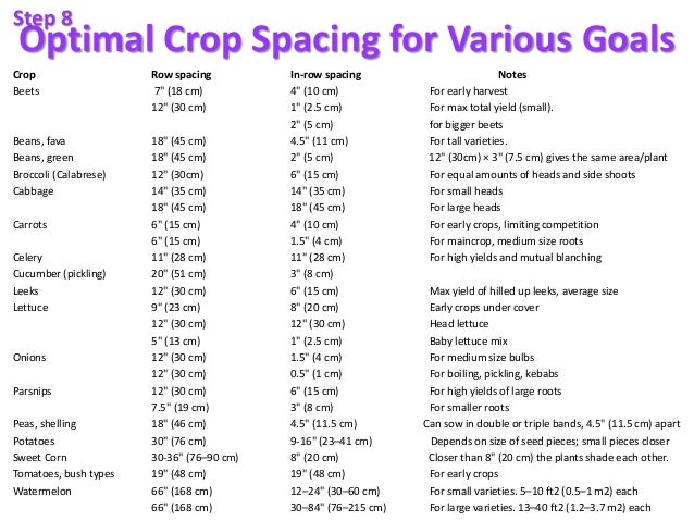 "Optimal Crop Spacing for Various Goals Crop Row spacing In-row spacing Notes Beets 7"" (18 cm) 4"" (10 cm) For early harvest..."