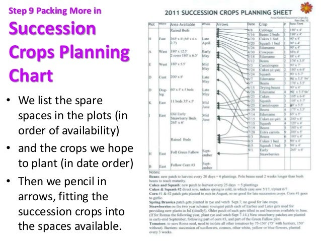 Step 9 Packing More in Succession Crops Planning Chart • We list the spare spaces in the plots (in order of availability) ...