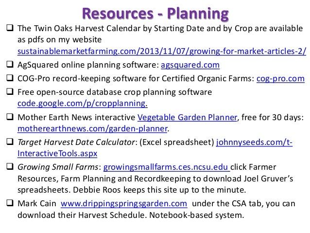 Resources - Planning  The Twin Oaks Harvest Calendar by Starting Date and by Crop are available as pdfs on my website sus...