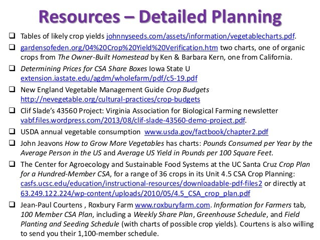 Resources – Detailed Planning  Tables of likely crop yields johnnyseeds.com/assets/information/vegetablecharts.pdf.  gar...
