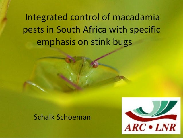 Integrated control of macadamiapests in South Africa with specific   emphasis on stink bugs  Schalk Schoeman