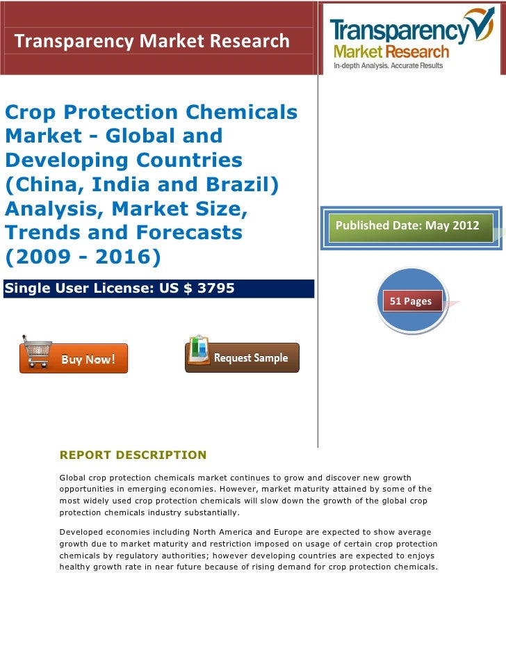 Transparency Market ResearchCrop Protection ChemicalsMarket - Global andDeveloping Countries(China, India and Brazil)Analy...