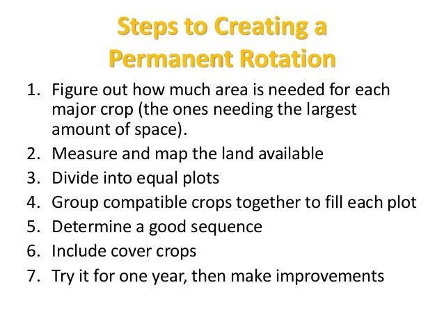 Steps to Creating a Permanent Rotation 1. Figure out how much area is needed for each major crop (the ones needing the lar...