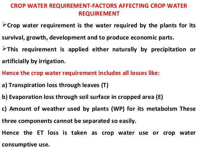 Crop water requirement.