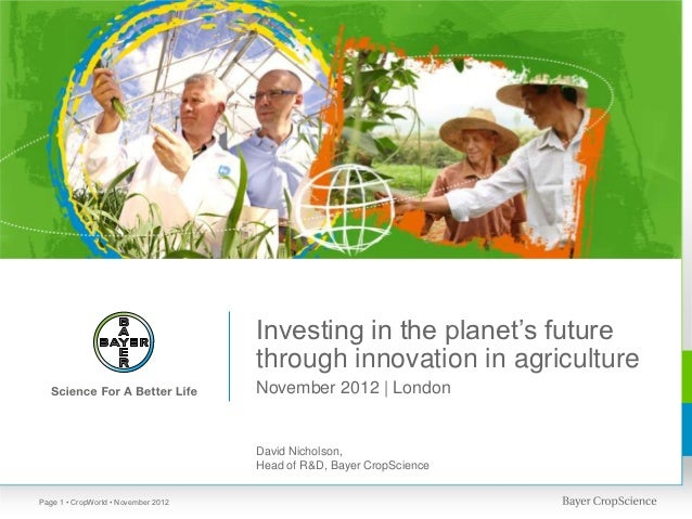 Investing in the planet's future                                     through innovation in agriculture                    ...