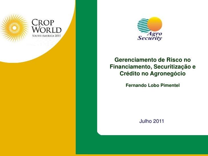 Gerenciamento de Risco no Financiamento, Securitização e Crédito no Agronegócio<br />Fernando Lobo Pimentel <br />Julho 20...