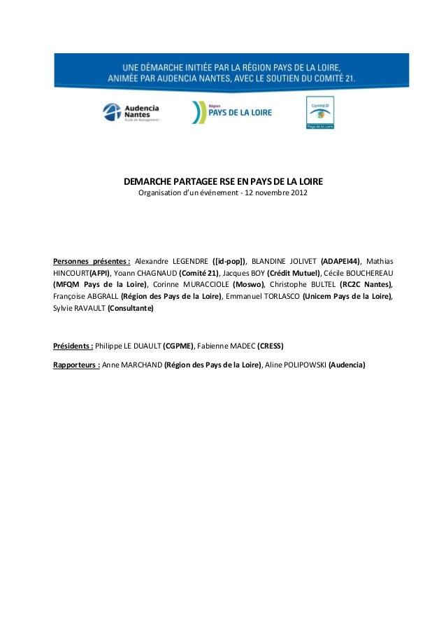 DEMARCHE PARTAGEE RSE EN PAYS DE LA LOIRE                       Organisation d'un événement - 12 novembre 2012Personnes pr...