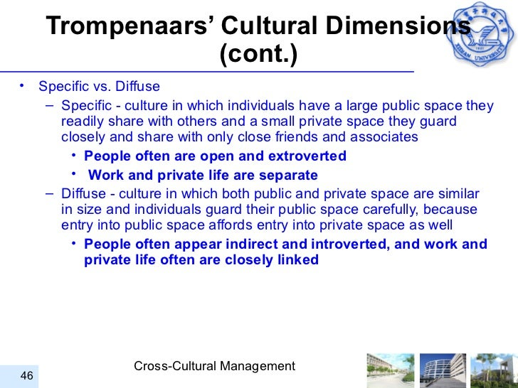 specific vs diffuse Specific vs diffuse specific: individuals have a large public space and a small  private space uk, u s, and switzerland diffuse: both public and private space .