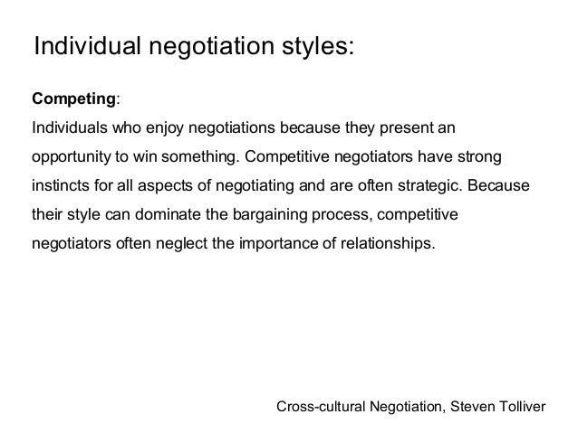 Negotiation styles accommodating meaning