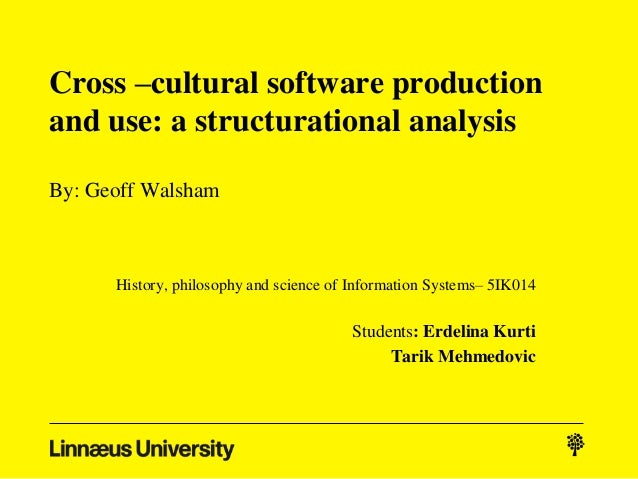 Cross –cultural software productionand use: a structurational analysisBy: Geoff Walsham      History, philosophy and scien...