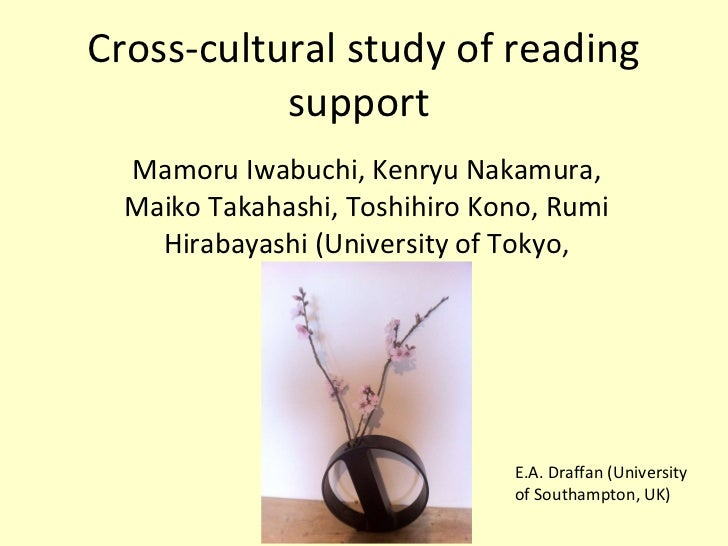 Cross-cultural study of reading support  Mamoru Iwabuchi, Kenryu Nakamura, Maiko Takahashi, Toshihiro Kono, Rumi Hirabayas...
