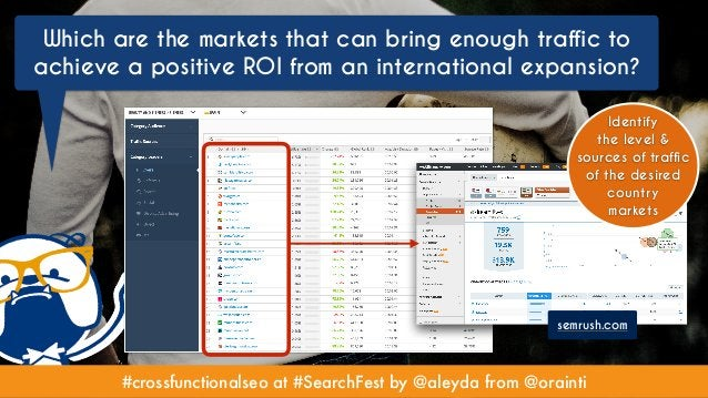 #crossfunctionalseo at #SearchFest by @aleyda from @orainti semrush.com Identify the level & sources of traffic of the des...