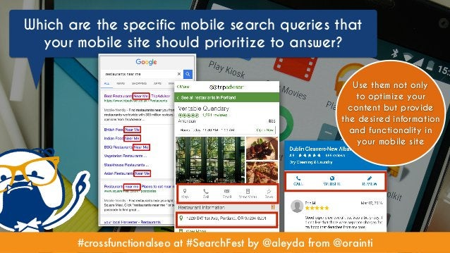 #crossfunctionalseo at #SearchFest by @aleyda from @orainti Which are the specific mobile search queries that your mobile ...