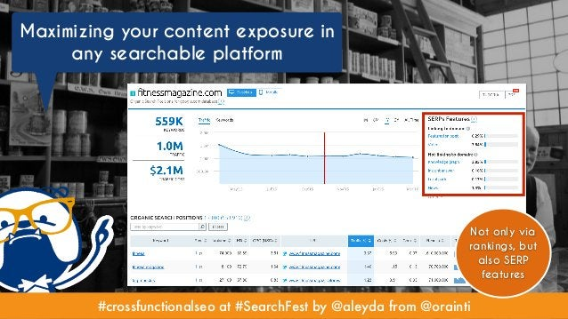 #crossfunctionalseo at #SearchFest by @aleyda from @orainti Maximizing your content exposure in any searchable platform #c...