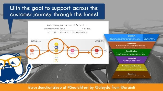 #crossfunctionalseo at #SearchFest by @aleyda from @orainti With the goal to support across the customer journey through t...
