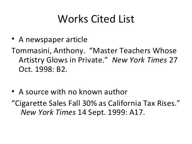works cited list mla