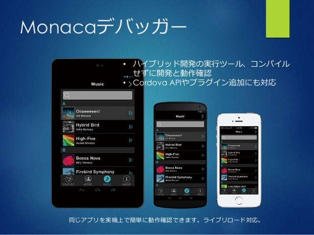 Monacaデバッガー 同じアプリを実機上で簡単に動作確認できます。ライブリロード対応。 • ハイブリッド開発の実行ツール、コンパイル せずに開発と動作確認 • Cordova APIやプラグイン追加にも対応