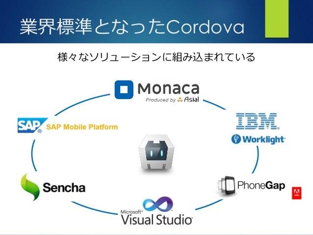 アプリ開発の可能性を広げるプラットフォーム さ 業界標準となったCordova 様々なソリューションに組み込まれている
