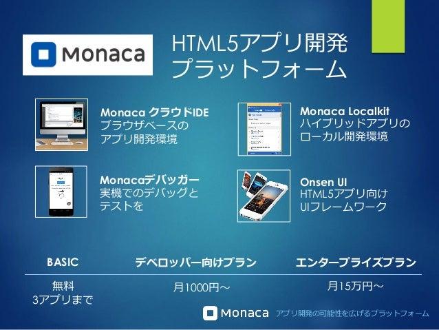 アプリ開発の可能性を広げるプラットフォーム Monaca クラウドIDE ブラウザベースの アプリ開発環境 Monacaデバッガー 実機でのデバッグと テストを Onsen UI HTML5アプリ向け UIフレームワーク Monaca Loca...